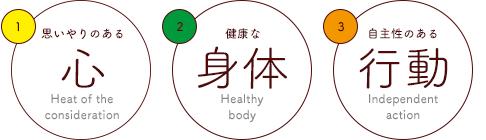 思いやるのある心。健康な身体。自主性のある行動。